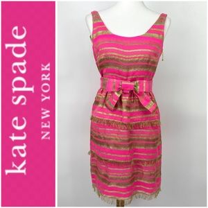 Kate Spade Dress Ruffle Mini Party Cocktail Gold